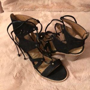 """31/2"""" thick heel black suede lace-up sandals"""